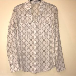 Express Patterned Button Down Blouse